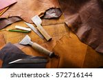 leathersmith's work desk .... | Shutterstock . vector #572716144