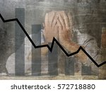 Small photo of bar graph of low sales and bankrupt prevision grunge dirty composite design with tired frustrated businessman worried in stress at office in financial crisis and bad business future prevision