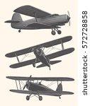vintage airplanes. design set.... | Shutterstock .eps vector #572728858