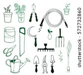 set of various gardening items. ...   Shutterstock .eps vector #572732860