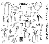 set of various gardening items. ... | Shutterstock .eps vector #572732878