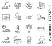 City park icons set. The open plot of land for recreation, thin line design. isolated symbols collection | Shutterstock vector #572737444