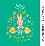 egg shaped easter greeting card ... | Shutterstock .eps vector #572749384