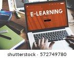 distance learning online... | Shutterstock . vector #572749780
