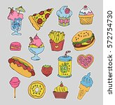 trendy cartoon label stickers... | Shutterstock .eps vector #572754730