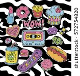 trendy cartoon stickers or... | Shutterstock .eps vector #572754820