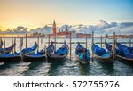 Gondolas Moored By Saint Mark...