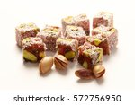 pistachio of turkish delight | Shutterstock . vector #572756950