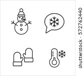 winter cold snow line icons set | Shutterstock .eps vector #572762440