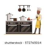 chef cooking in restaurant... | Shutterstock .eps vector #572765014