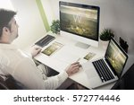 man working with devices with...   Shutterstock . vector #572774446