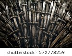 Metal knight swords background. ...