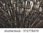 metal knight swords background. ... | Shutterstock . vector #572778370