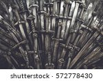 metal knight swords background. ... | Shutterstock . vector #572778430