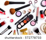 cosmetics top view on a white... | Shutterstock . vector #572778733