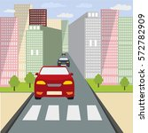 the car stopped at a crosswalk. ... | Shutterstock .eps vector #572782909