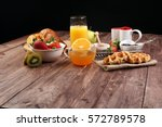 breakfast on table with waffles ... | Shutterstock . vector #572789578
