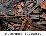 red brick and wood fragments.... | Shutterstock . vector #572800660
