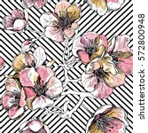 seamless pattern with soft pink ... | Shutterstock .eps vector #572800948