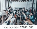 busy working day in office.... | Shutterstock . vector #572801503