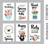 spring card set with spring... | Shutterstock .eps vector #572803876