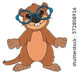funny groundhog in blue round... | Shutterstock . vector #572808916