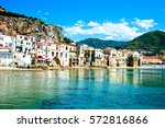 beautiful coast of cefalu ... | Shutterstock . vector #572816866