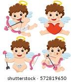 set illustration of cute cupid... | Shutterstock .eps vector #572819650
