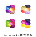 set of vector shiny blank boxes ... | Shutterstock .eps vector #572822254