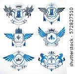 set of vector vintage emblems... | Shutterstock .eps vector #572827510