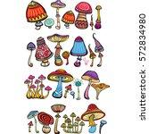 set of stylized mushrooms  | Shutterstock .eps vector #572834980
