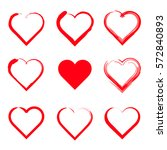 vector hearts set. hand drawn. | Shutterstock .eps vector #572840893