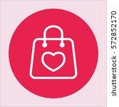shopping gift bag with heart... | Shutterstock .eps vector #572852170
