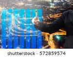 double exposure of businessman...   Shutterstock . vector #572859574