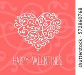 floral curly vintage valentine... | Shutterstock . vector #572860768