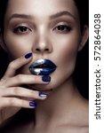 beautiful girl with art make up ... | Shutterstock . vector #572864038