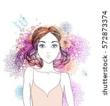 beautiful  women with abstract... | Shutterstock .eps vector #572873374