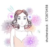 beautiful  women with abstract... | Shutterstock .eps vector #572873458