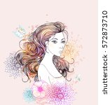 beautiful  women with abstract... | Shutterstock .eps vector #572873710