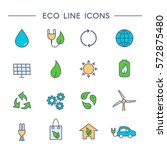 set of eco line icons  windmill ... | Shutterstock .eps vector #572875480