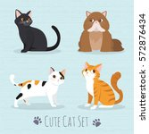 cat set  flat icons. vector...