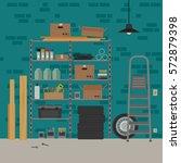 garage interior with metal... | Shutterstock .eps vector #572879398