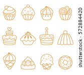 outline web icon set of cakes... | Shutterstock .eps vector #572884420