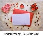 vintage valentine mockup. blank ...   Shutterstock . vector #572885980