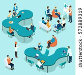 coworking people isometric set... | Shutterstock .eps vector #572889319