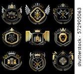 set of vector vintage emblems...   Shutterstock .eps vector #572905063
