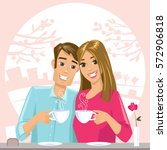 couple in love drinking coffee. ... | Shutterstock .eps vector #572906818