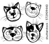 hand drawn  set of cute cartoon ... | Shutterstock . vector #572909440