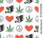 hippie seamless pattern with... | Shutterstock .eps vector #572919598