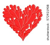 stylized floral red heart icon. ... | Shutterstock . vector #572921908